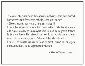 EXTRAIT : L'ORDRE TERNE, TOME 1, LIVRE2